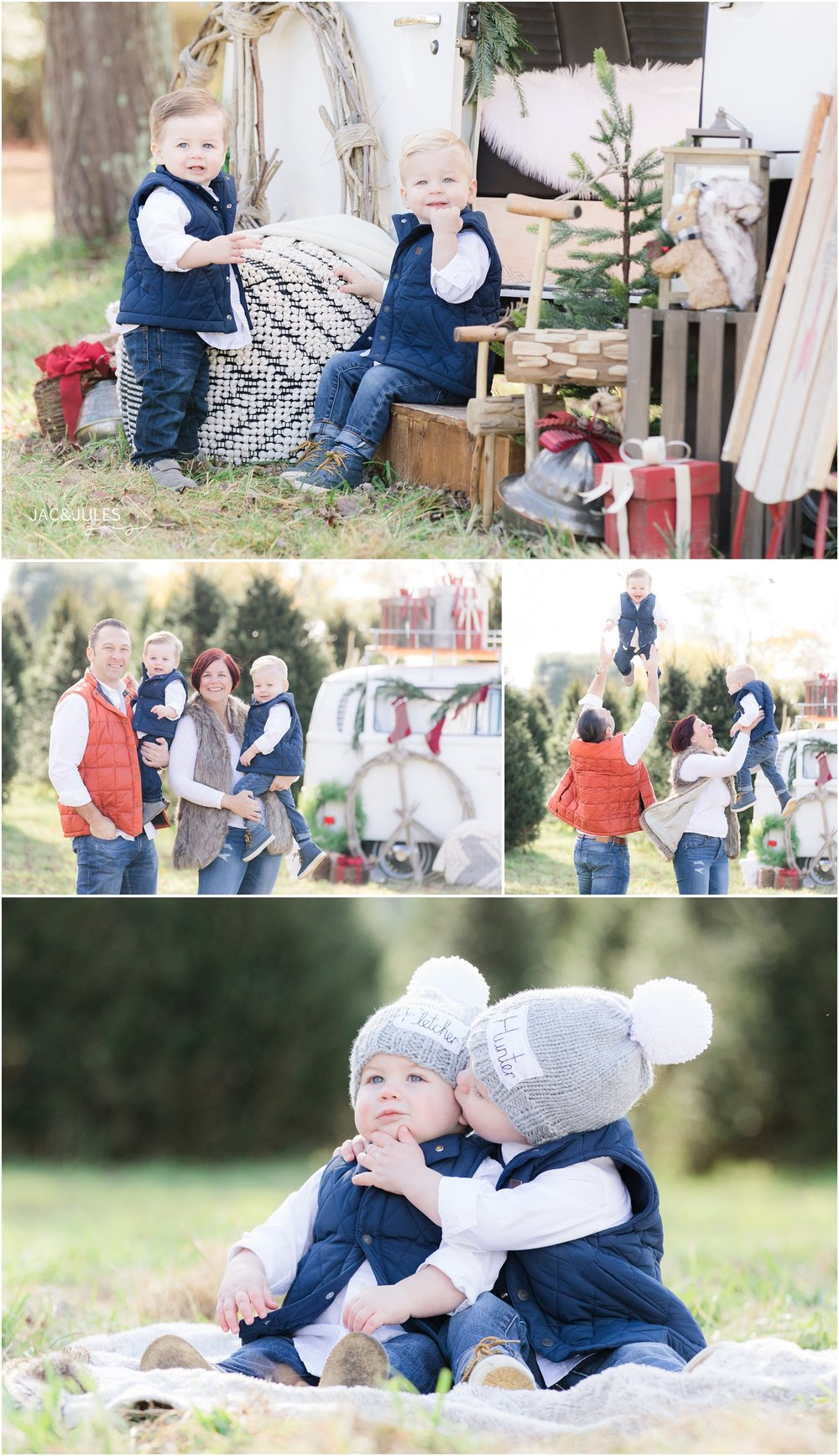 christmas photos at a tree farm with a vw bus decorated with christmas presents.