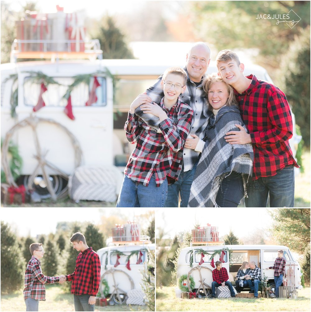 fun family christmas photos at a tree farm with a vw bus.