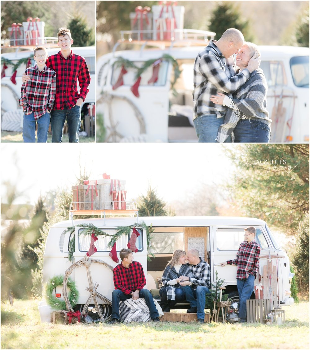 unique family christmas photos at a tree farm with a vw bus.