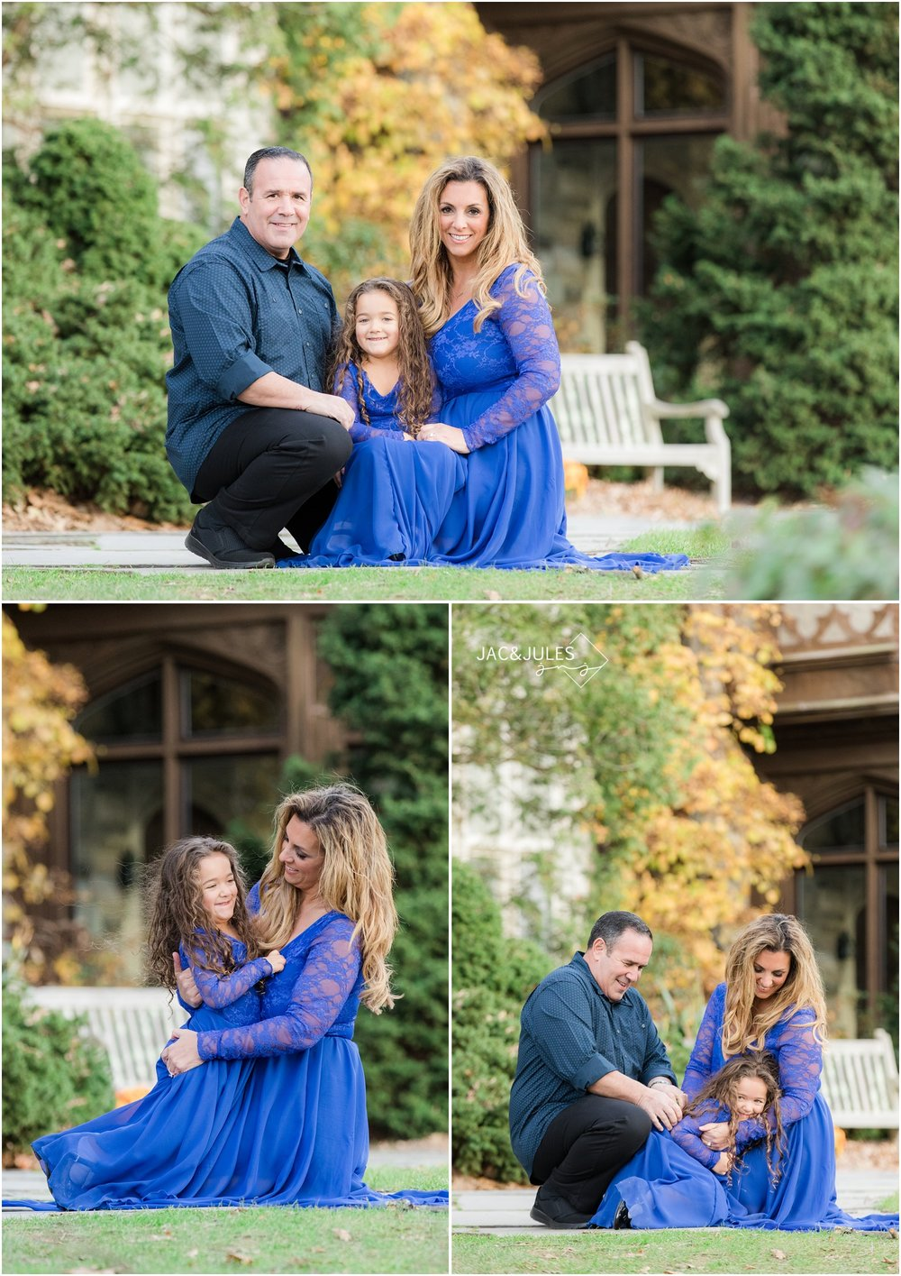 Fun whimsical Family photos in front of the castle at Skylands Manor in Ringwood, NJ.