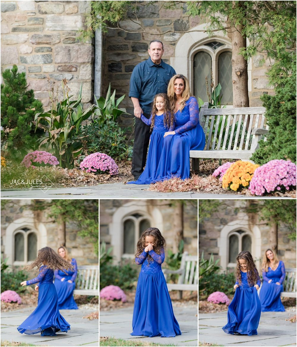 cute Family photos in front of the castle at Skylands Manor in Ringwood, NJ.