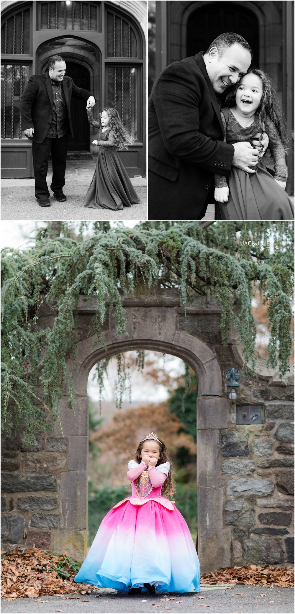 fun daddy daughter photos in front of the castle at Skylands Manor in Ringwood, NJ.