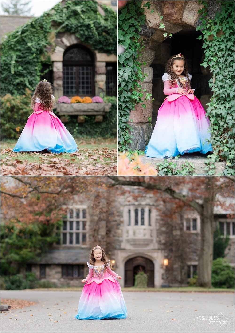 photos of little girl dressed as princess Aurora in front of the castle at Skylands Manor in Ringwood, NJ.
