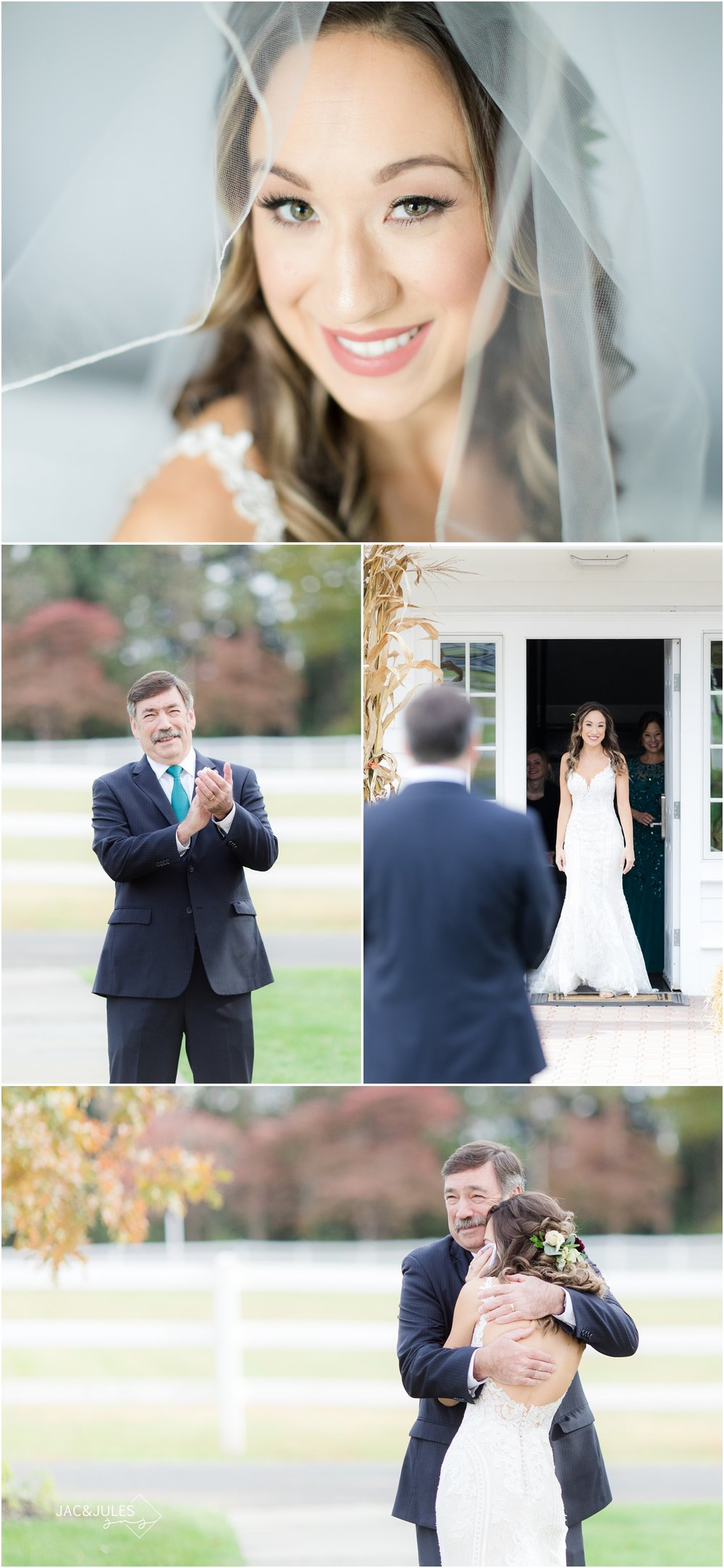 bridal portrait and first look with dad at the coach house at the ryland Inn.
