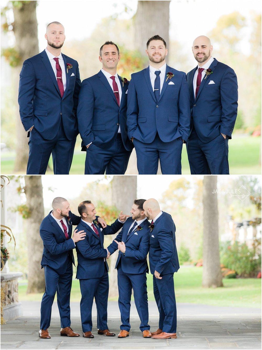 fun groomsmen portraits at the ryland inn.