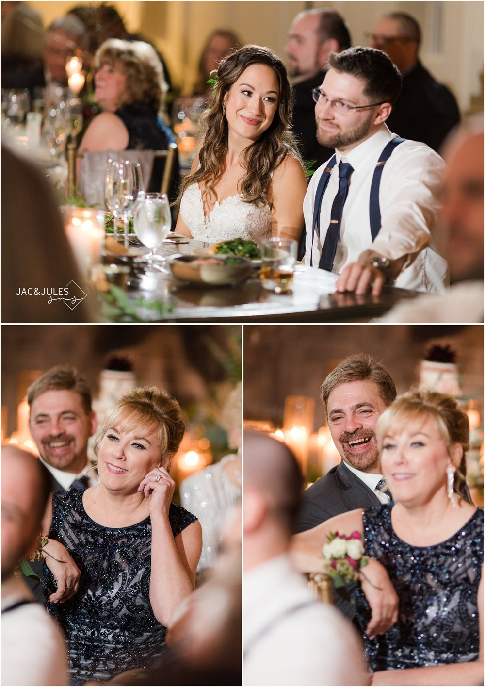 parent reactions to speeches during wedding reception at the ryland inn.
