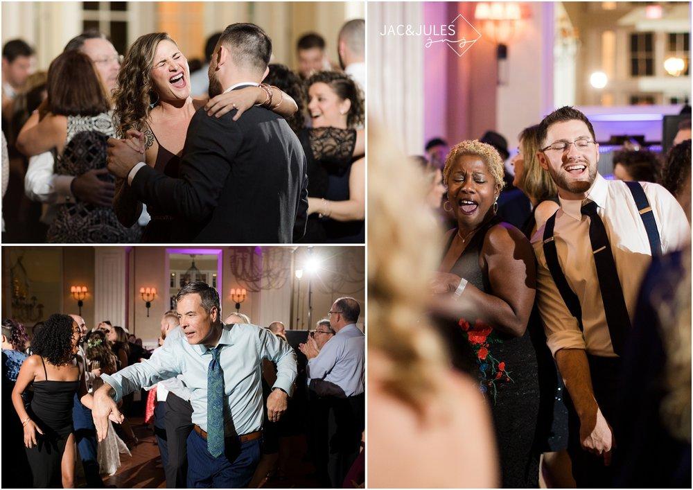 fun dance floor photos at ryland inn wedding reception.