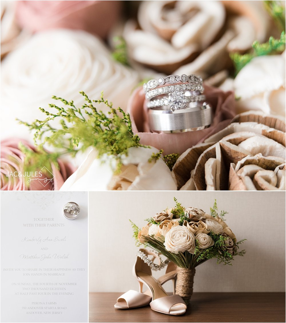 wooden flower wedding bouquet with Corinne Jewelers rings