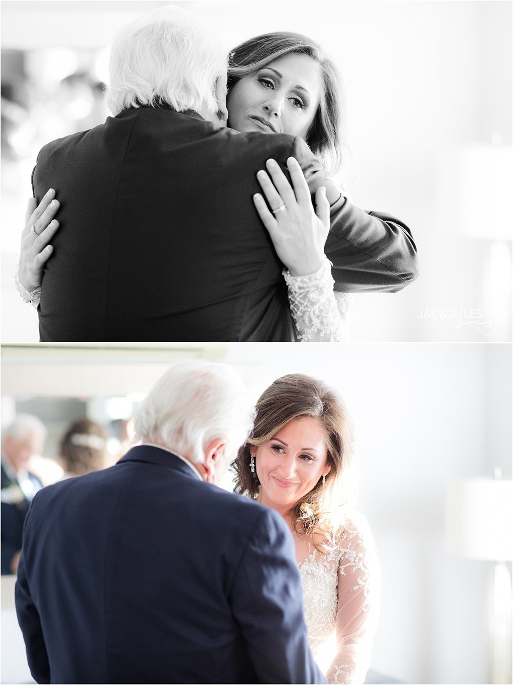emotional first look with dad on wedding day at persona farms