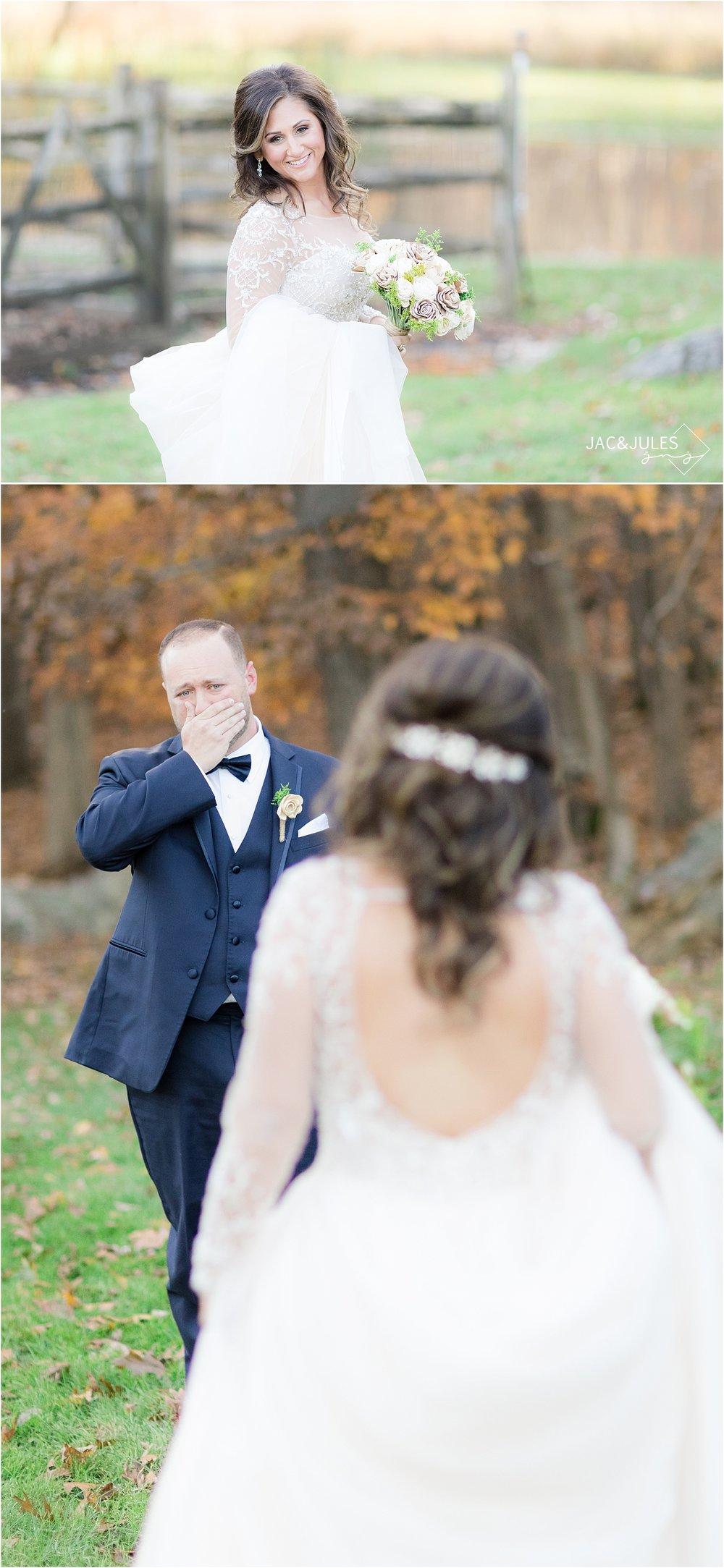 emotional first look at Perona Farms wedding