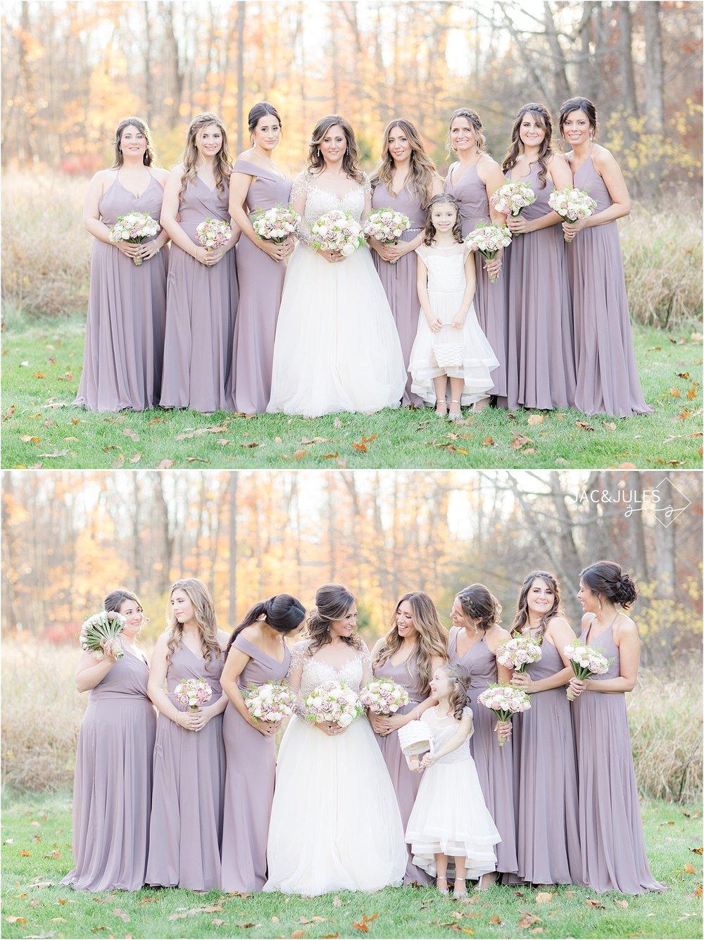 bride and bridesmaids photo in purple dresses at Perona Farms