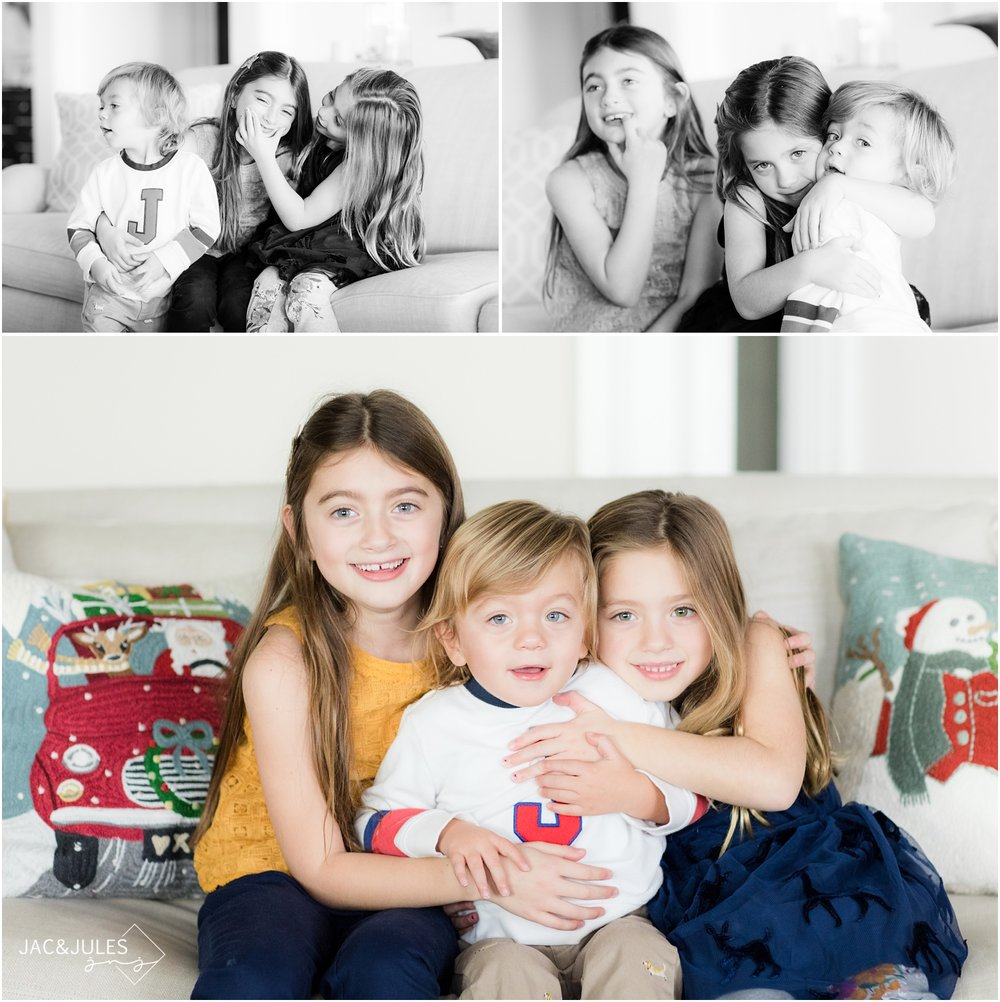 fun photos of three kids on their couch at home in Toms River, NJ.