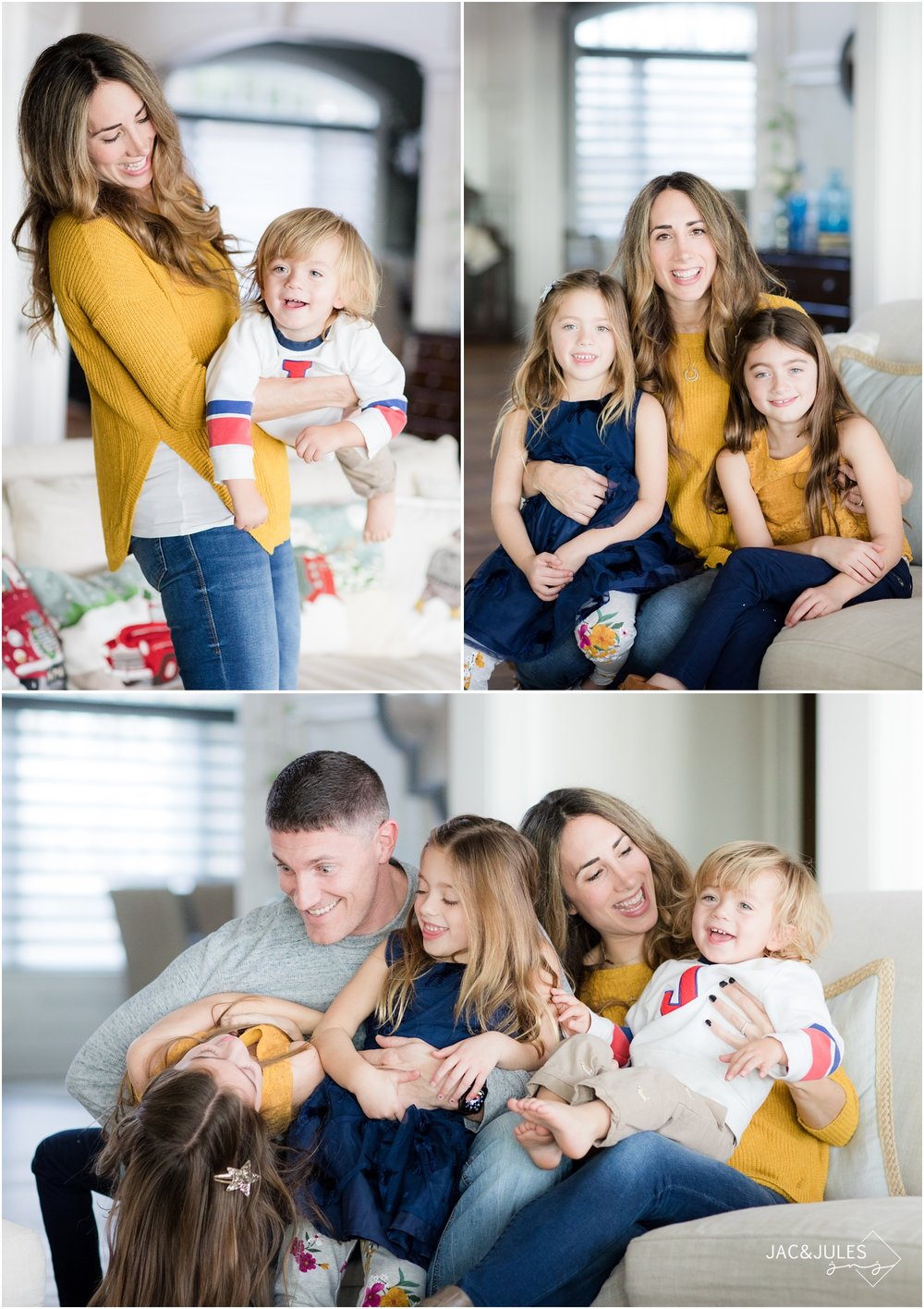 fun photos of a family on their couch at home in Toms River, NJ.