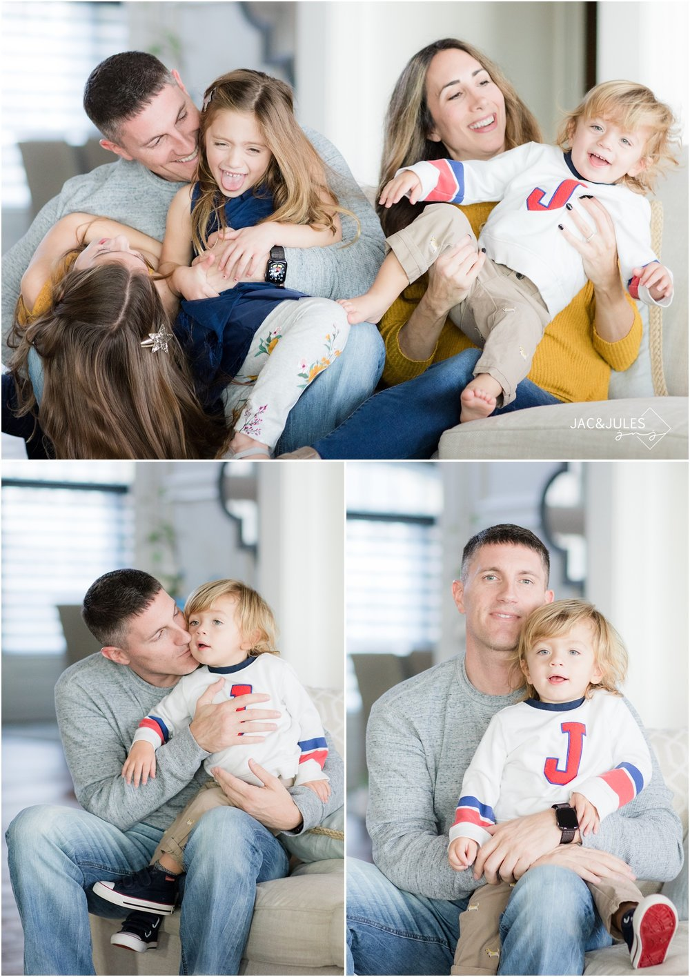 playful photos of a family on their couch at home in Toms River, NJ.