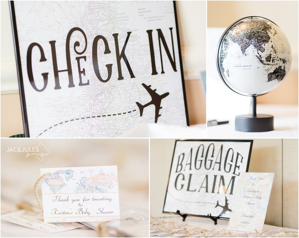 Check in table and baggage claim for travel theme baby shower at Forsgate Country Club.
