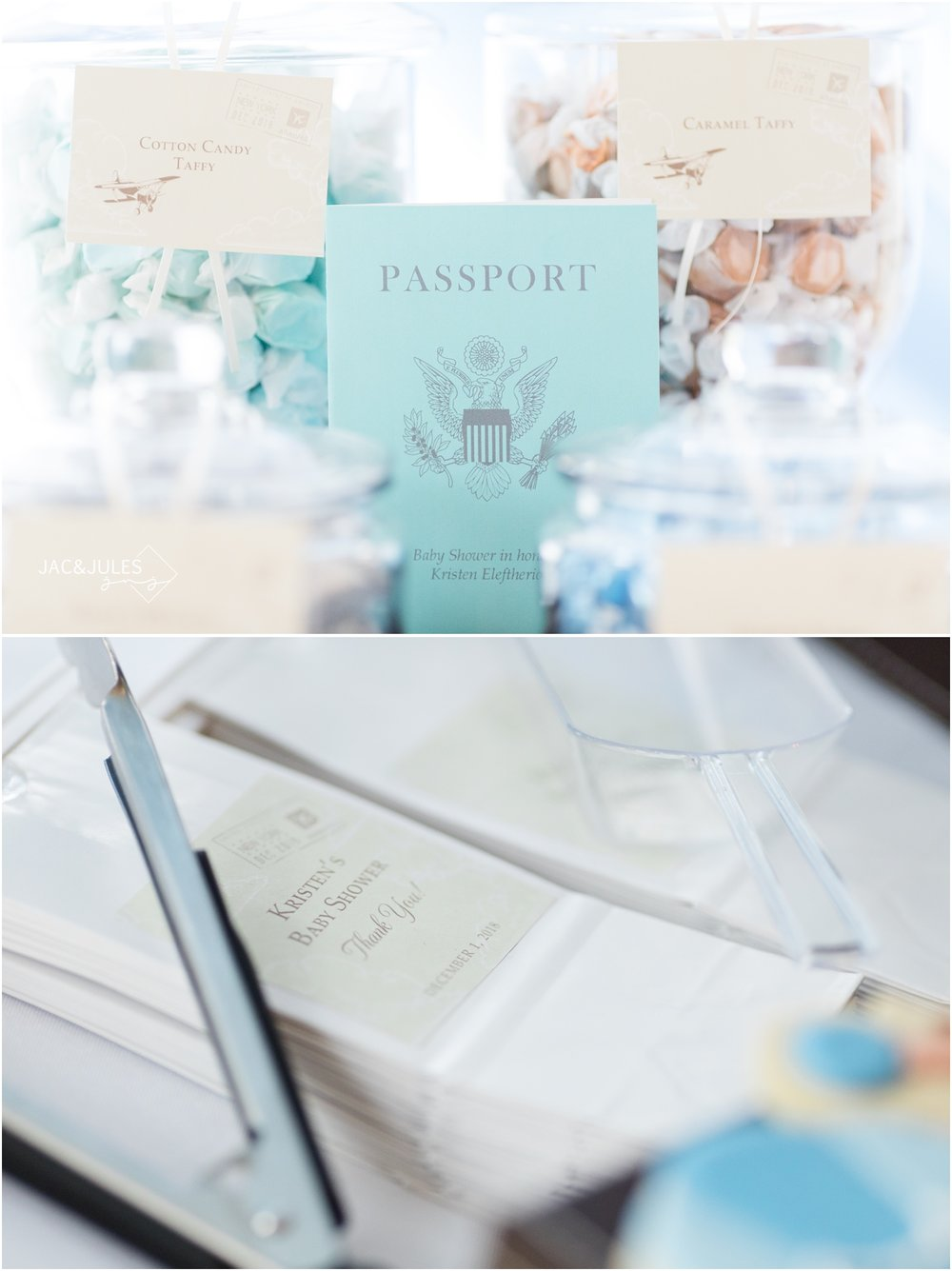 luggage cake and world cake pops for travel theme baby shower at Forsgate Country Club.