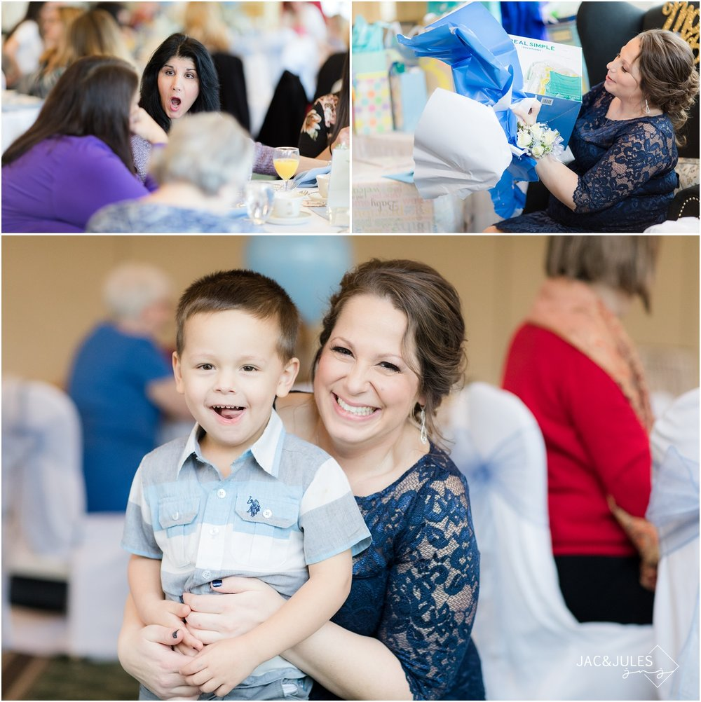 Candid photos at Forsgate Country Club travel themed baby shower.