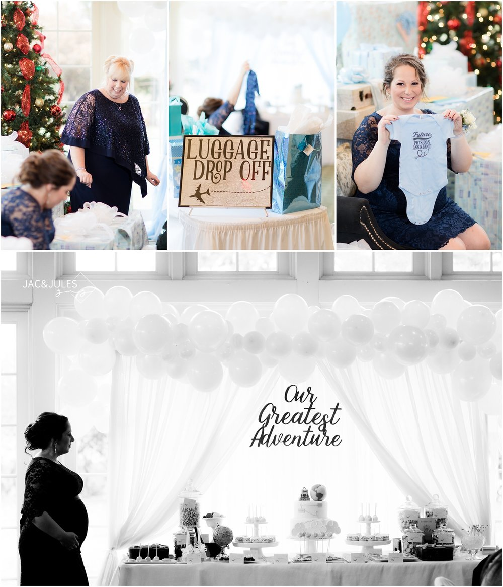 Photos of pregnant mom at Forsgate Country Club travel themed baby shower.