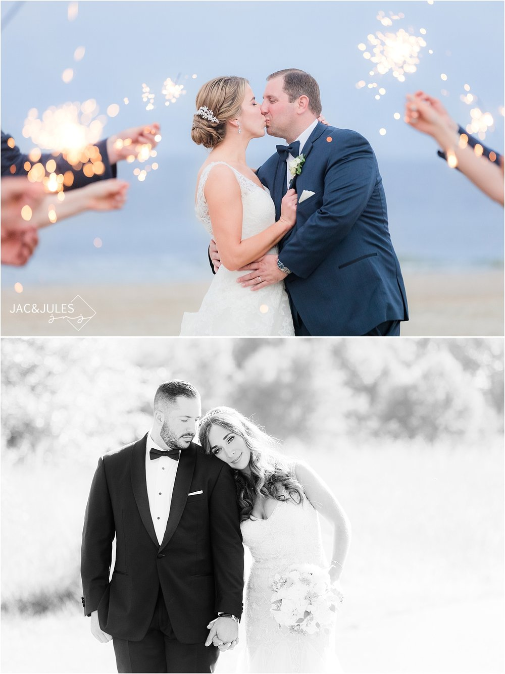 windows on the water at sea bright wedding photo with sparklers