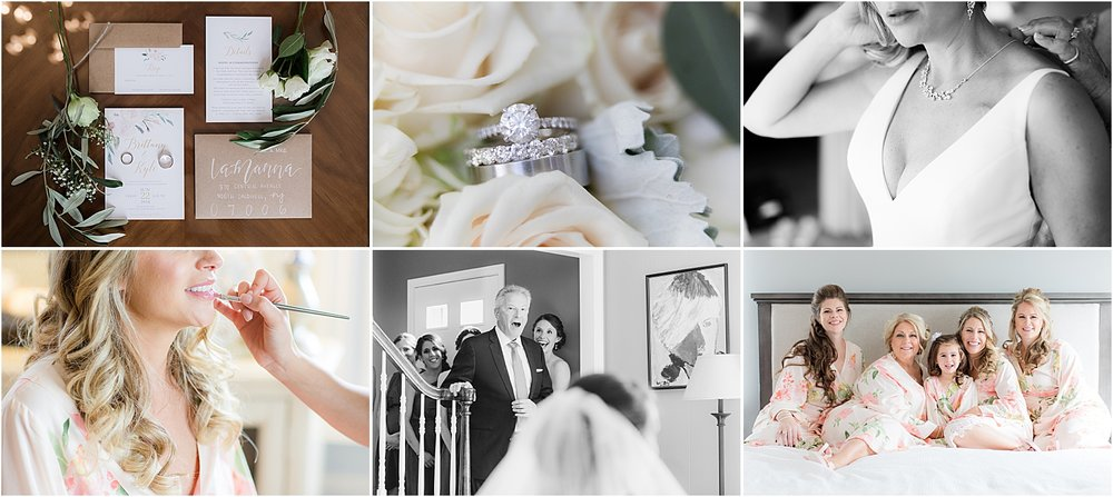 photo collage of bride getting ready for wedding day in New Jersey in natural light including first look with dad, robe photo with bridesmaids and details