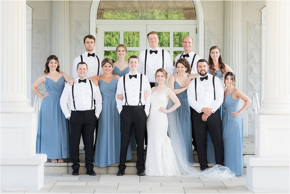 photo of bridal party in front of the palace at somerset park in nj using natural light