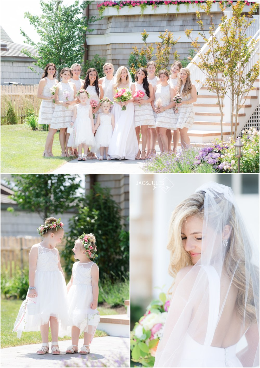 Bridesmaids and flower girls for Mantoloking Yacht Club Wedding.