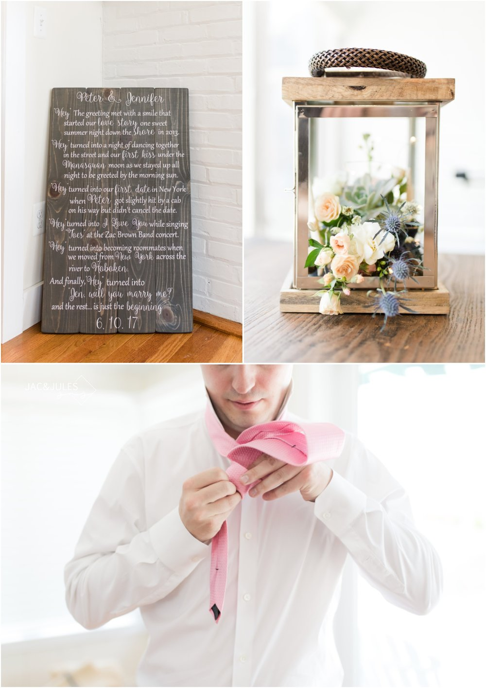 A poem about the bride and groom and table decor with florals by Faye and Renee.