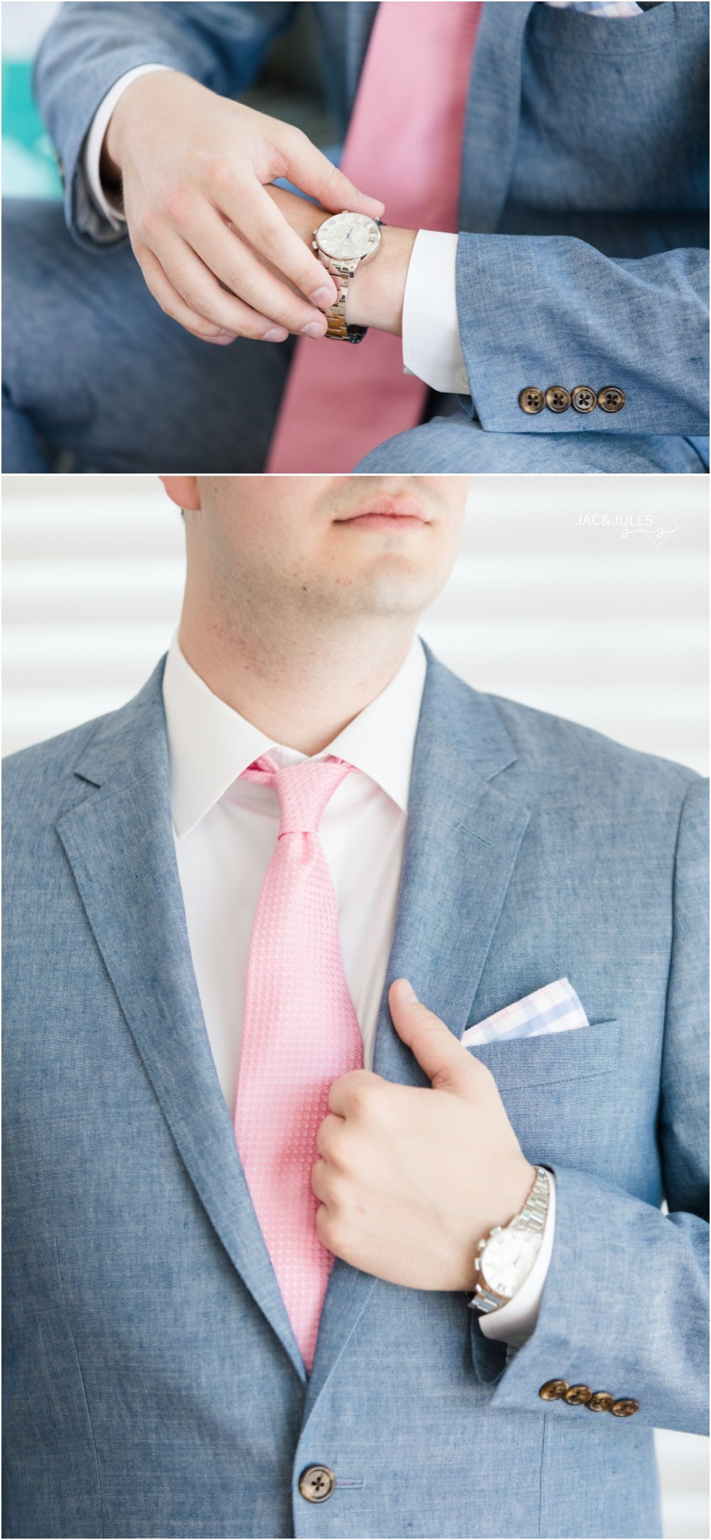 Groom in chambray jacket, coral tie, and Tiffany watch from the bride.