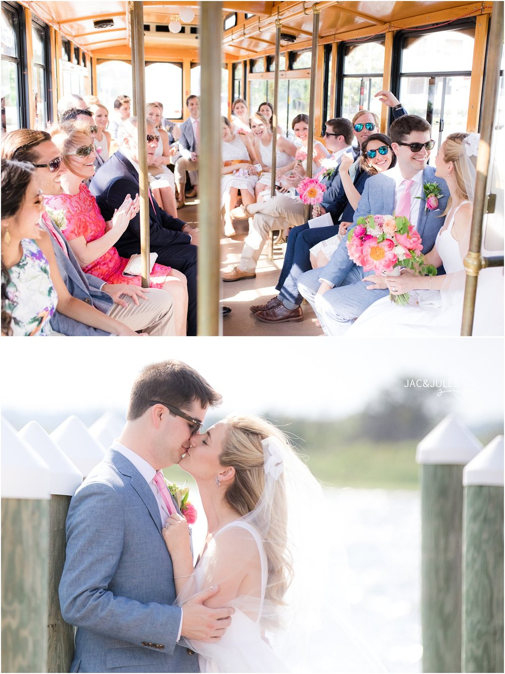 Trolley ride for bridal party for wedding at Mantoloking Yacht Club.