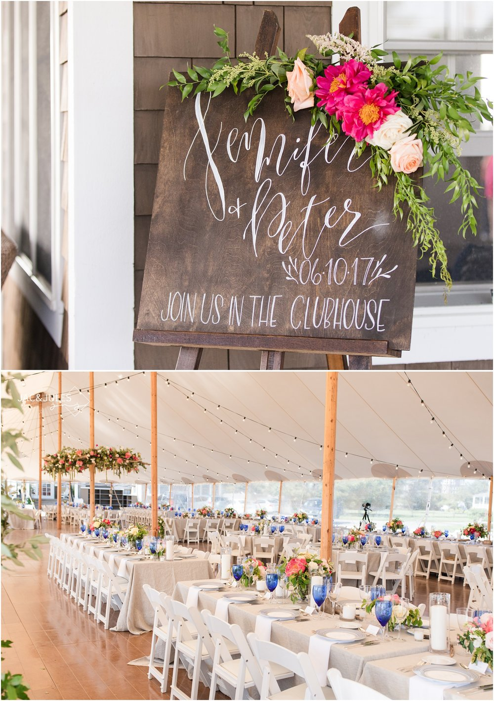 Wedding reception sign made of wood and draped in florals by Faye and Renee.