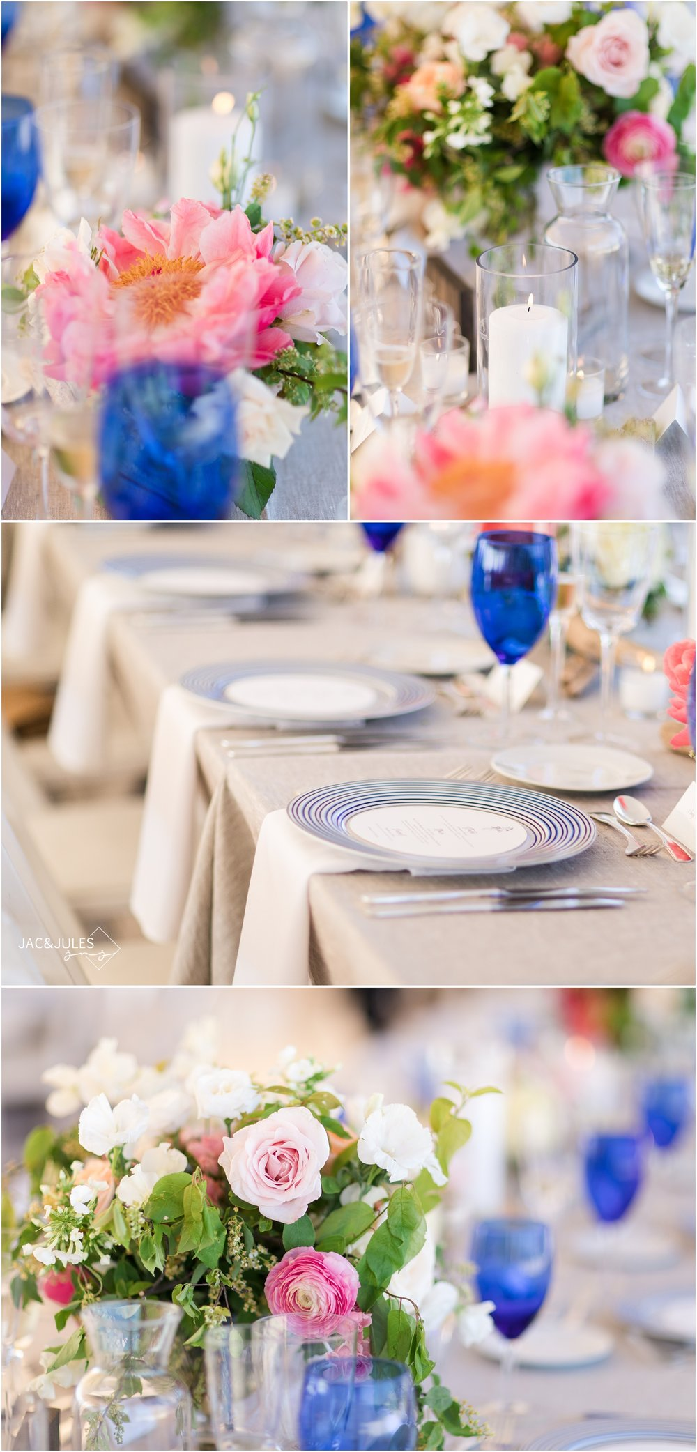 Photos of table settings with blue glassware and floral centerpieces by  Faye & Renee at Mantoloking Yacht Club
