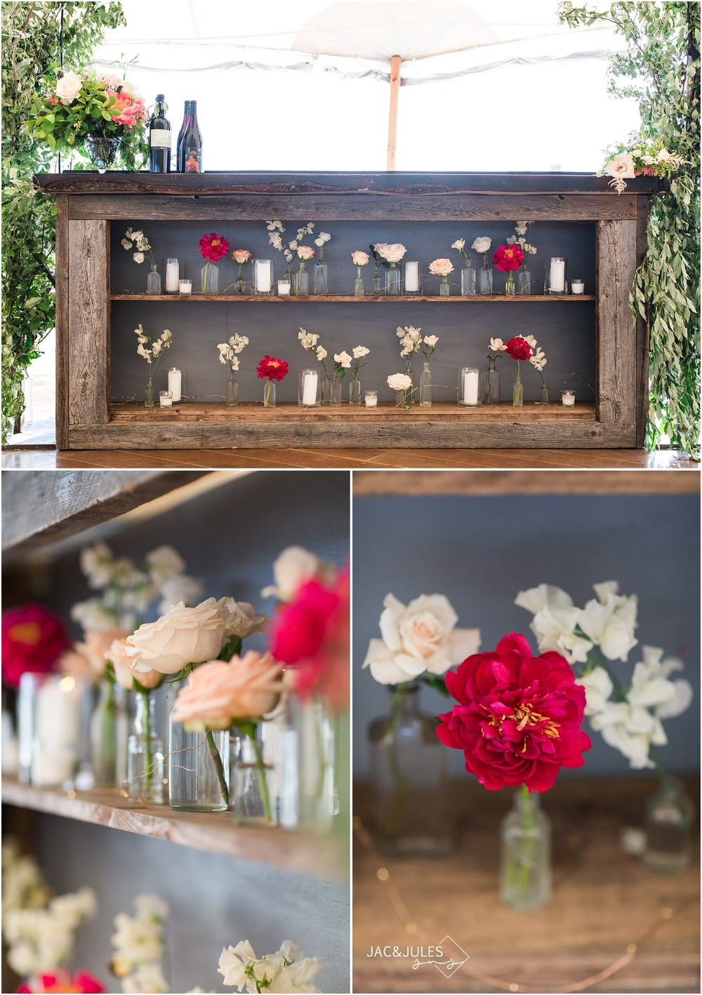 Amazing wood bar at Mantoloking Yacht Club wedding styled with florals from Faye and Renee