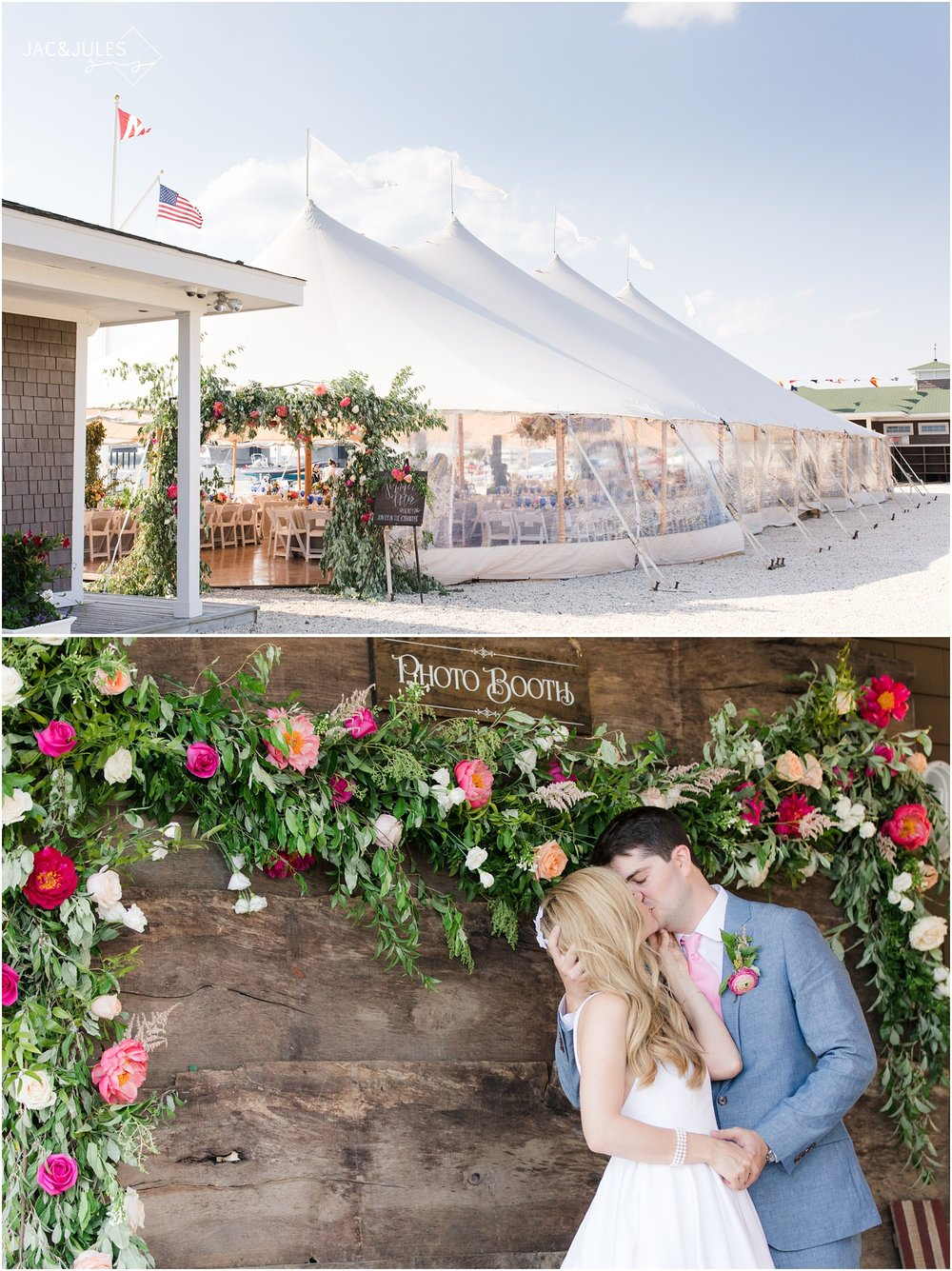 Wooden photo booth backdrop at Mantoloking Yacht Club wedding styled with florals from Faye and Renee