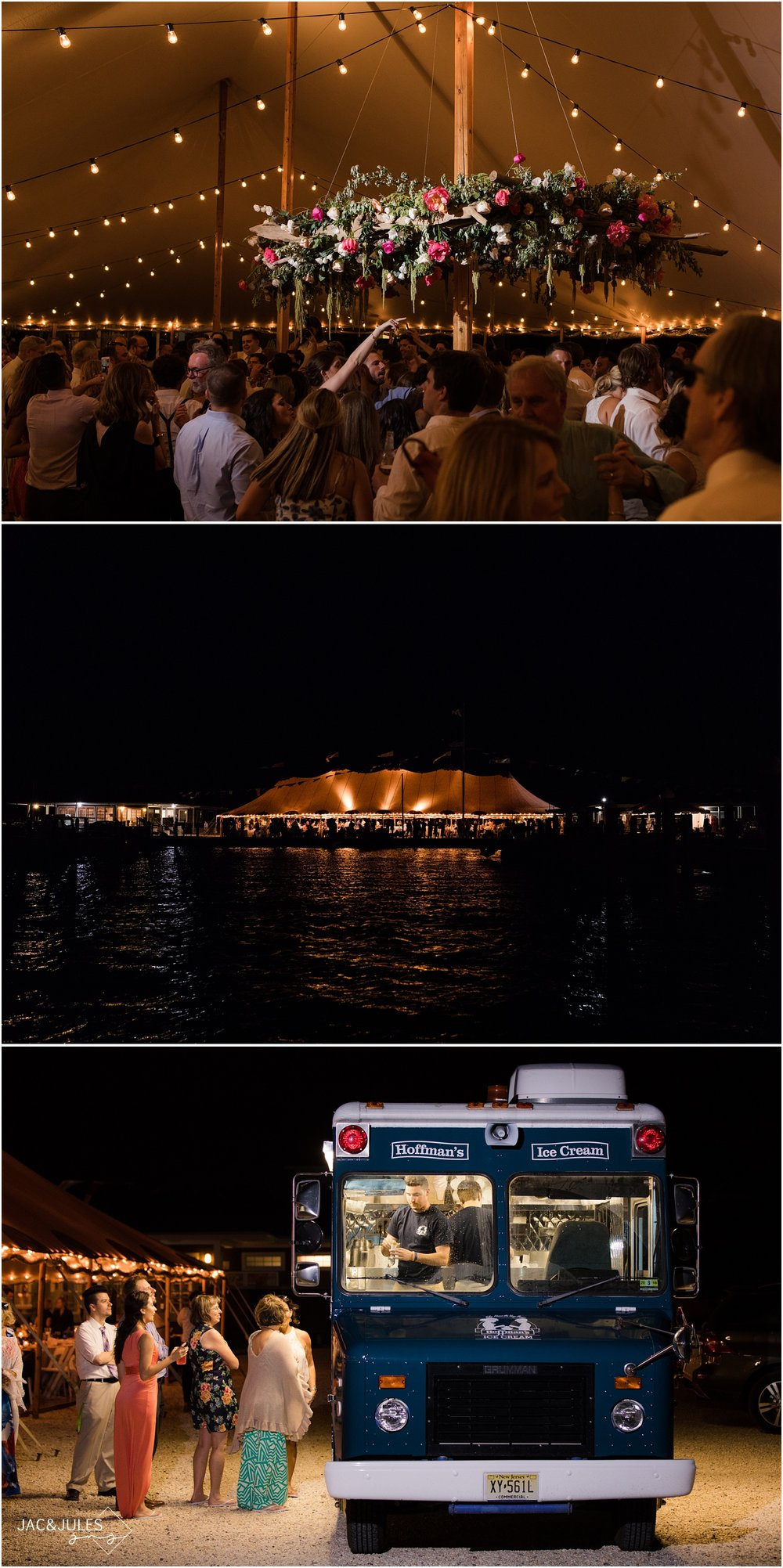 Nighttime photo of a wedding reception at Mantoloking Yacht Club, Late night ice cream truck from Hoffman's Ice Cream in Point Pleasant.
