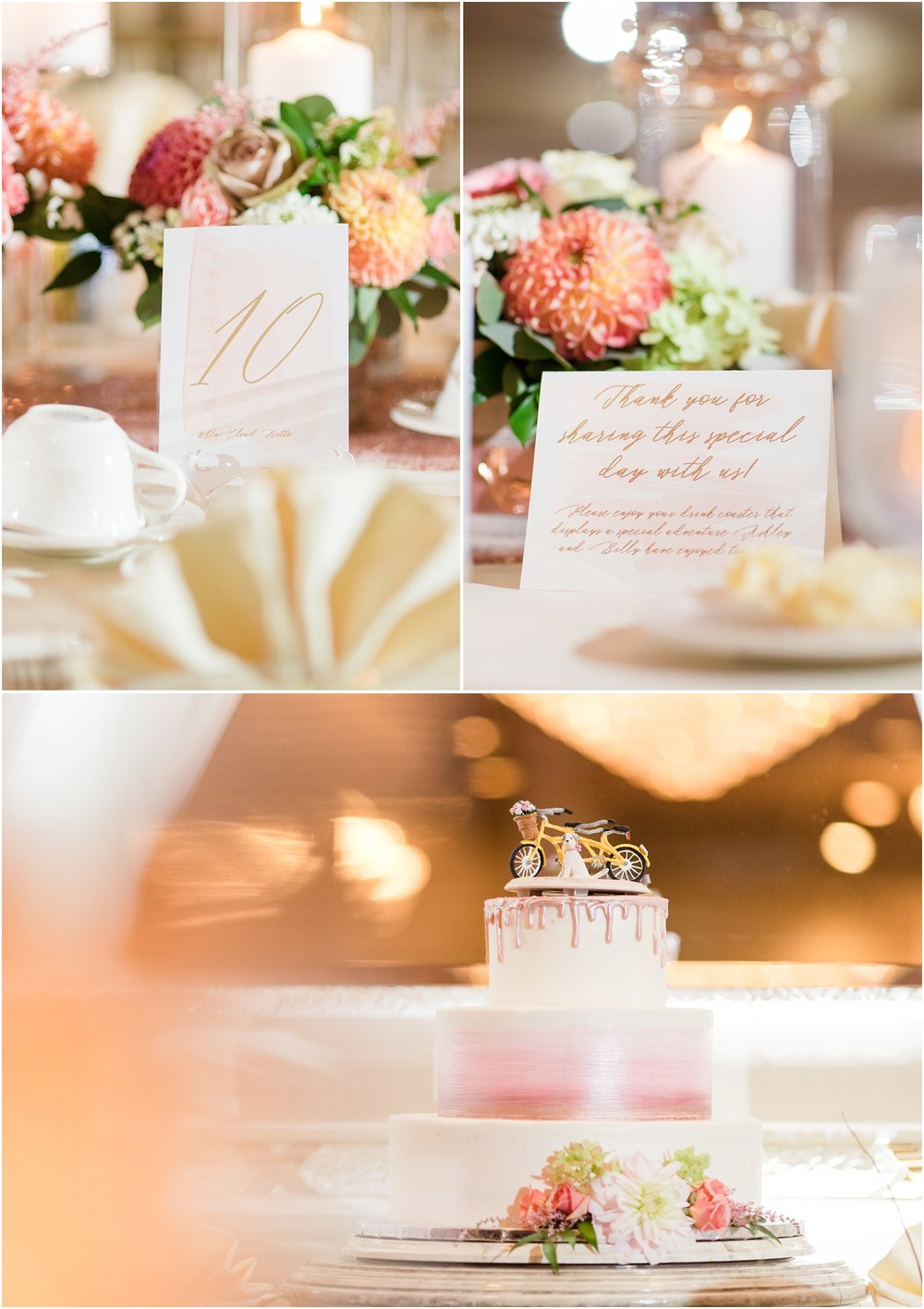 Table numbers, wedding favors, and wedding cake from Wildflowers with Tami at The Breakers in Spring Lake, NJ.