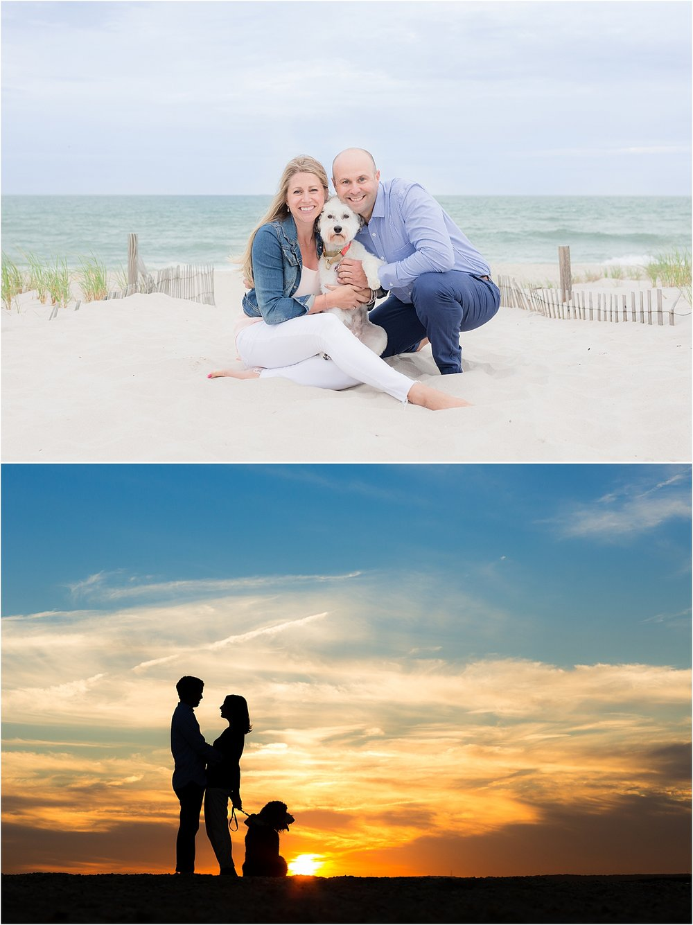 island beach state park nj engagement photo at sunset with their dog