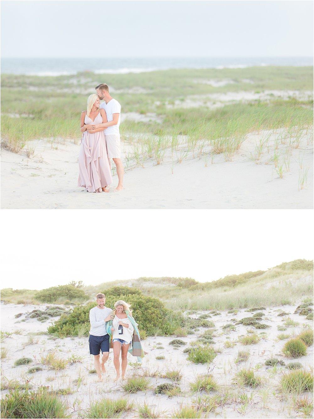 romantic engagement photos on the beach in LBI NJ