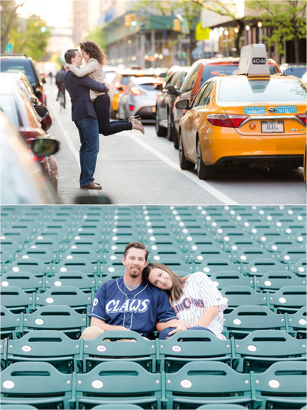 fun engagement photos at unique locations like NYC street and Lakewood Blue Claws Stadium in NJ
