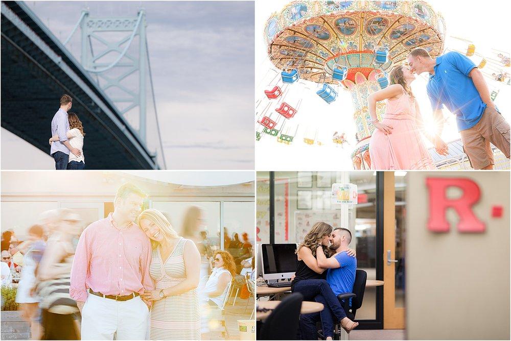 fun engagement photos on point pleasant boardwalk, asbury park nj, and rutgers university