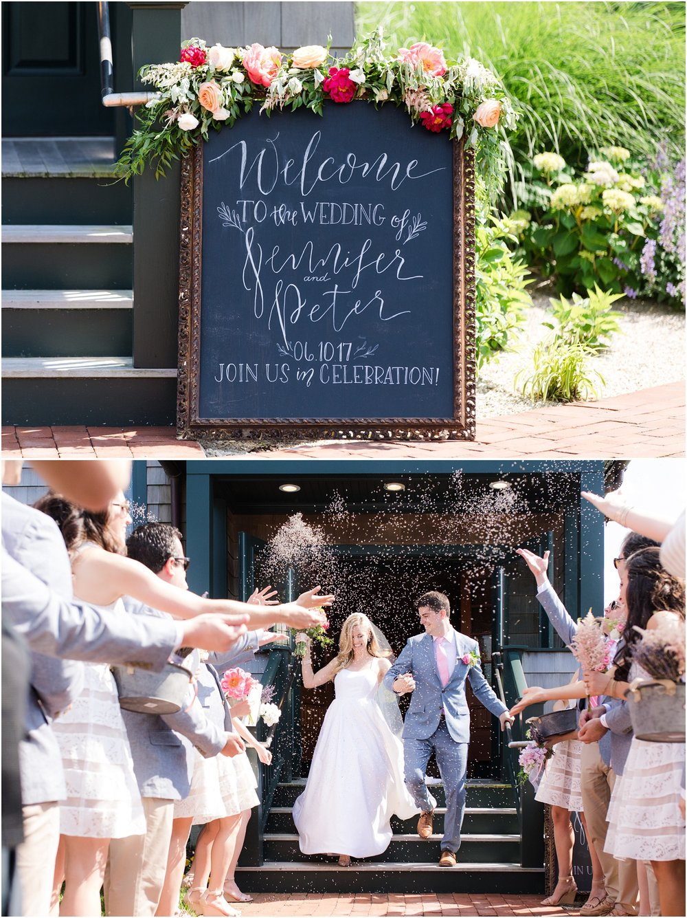 Wedding ceremony sign and lavender exit in Bay Head, NJ.