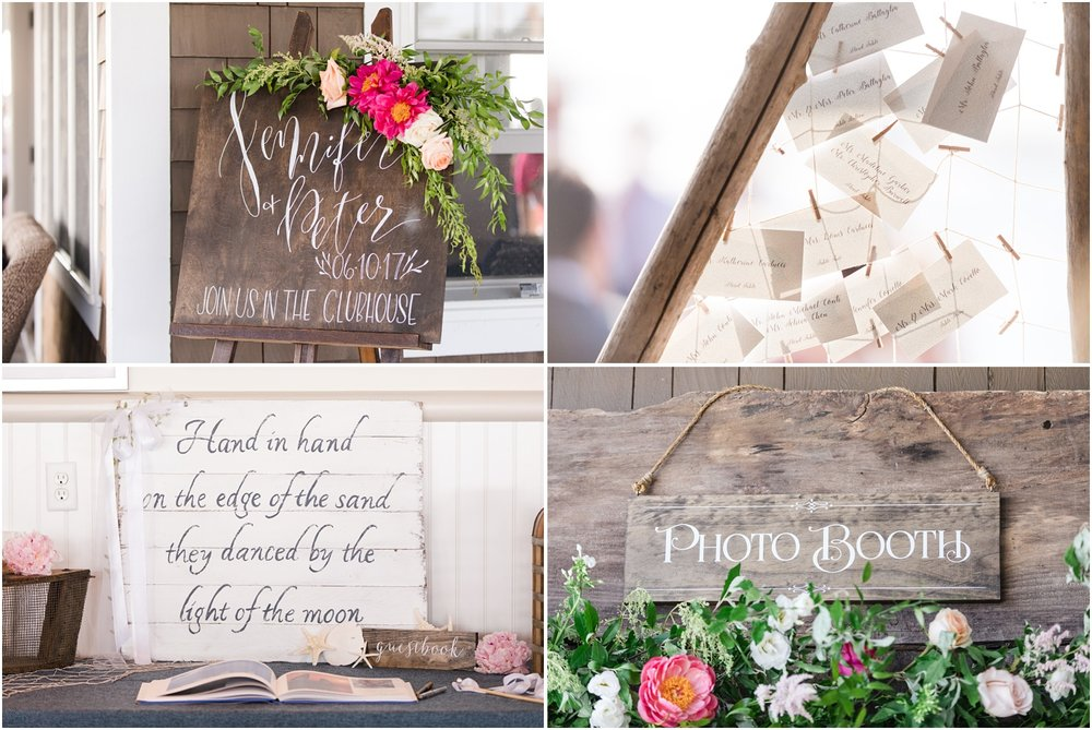 Photos of wooden signage with white calligraphy and floral accents for a wedding at Mantoloking Yacht Club.