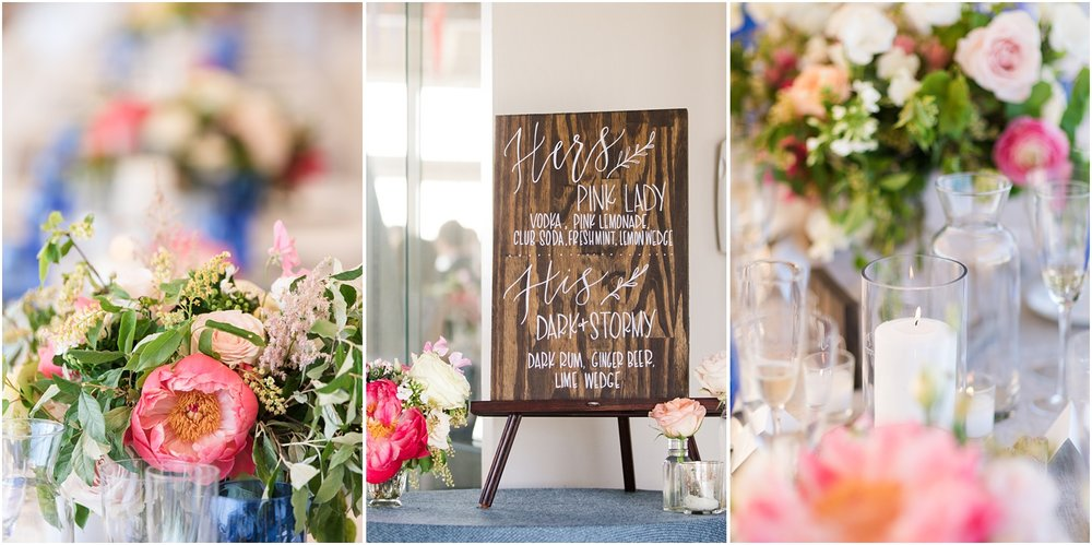 Photos of tented reception decor by Faye and Renee at Mantoloking Yacht Club.