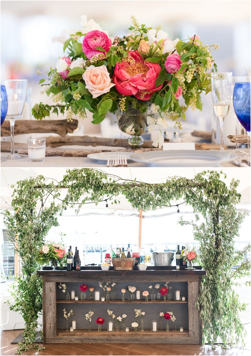 Photo of wooden and floral bar setup by Faye and Renee at Mantoloking Yacht Club.