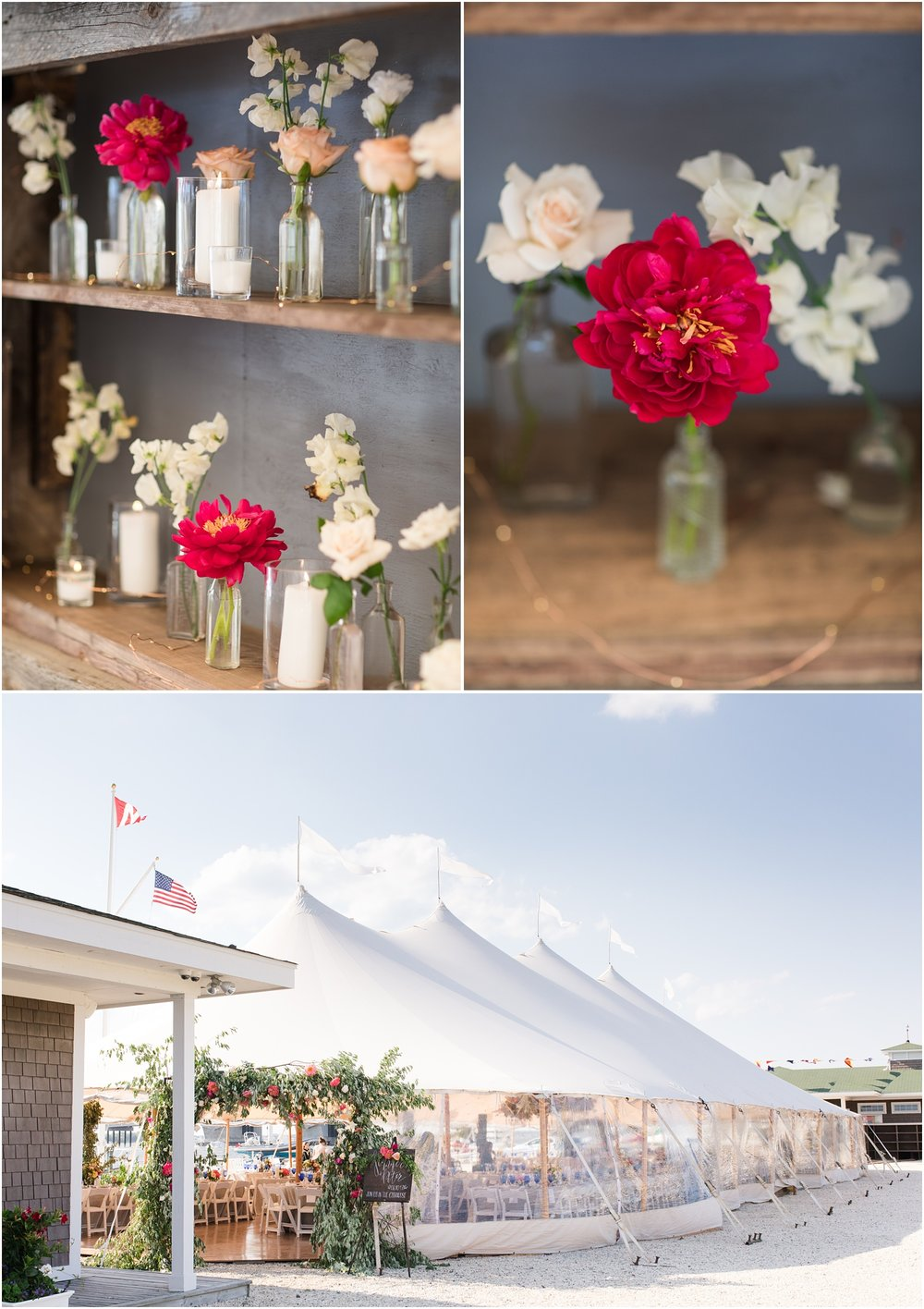 Photo of tent reception at Mantoloking Yacht Club published in New Jersey Bride Magazine.