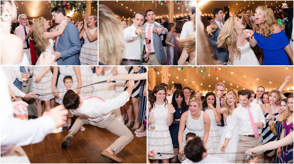 Wild fun wedding reception dancing to The Nocturnes at Mantoloking Yacht Club wedding.