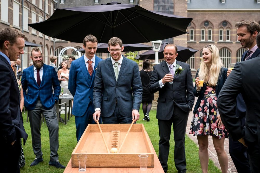 An international wedding couple-orgnised old dutch games