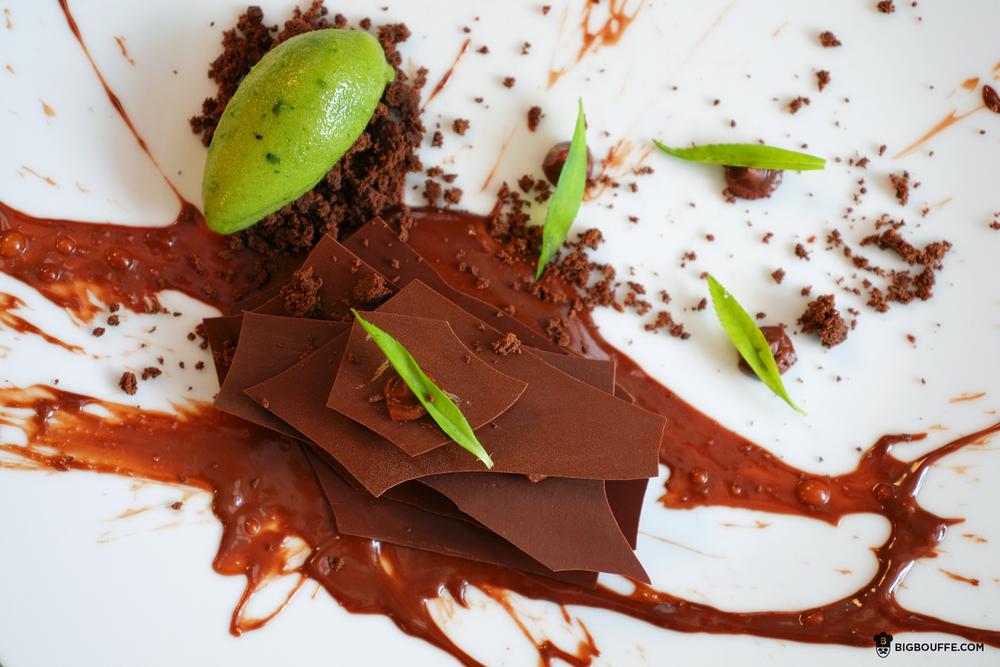 Sorbet tagette et chocolat grand cru des Caraïbes
