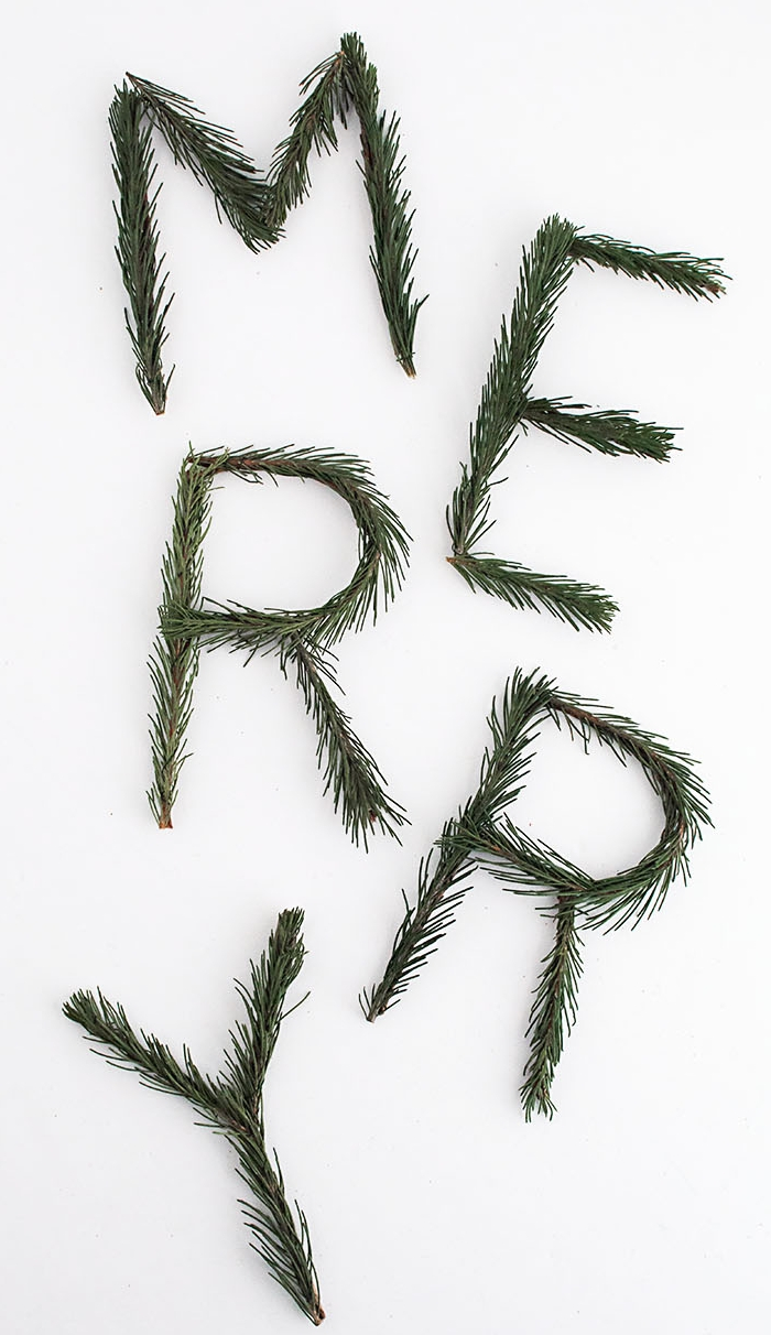 Merry Pine Garland - This could not be easier. I bought my floral wire here and the rest you can find in your backyard. Spell out