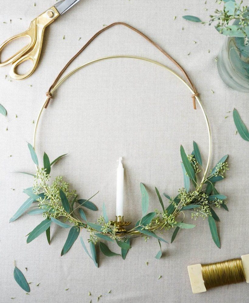 Wire Wreath - There are tons of websites that have different variations of this style wreath, but this one has the links to all the materials needed. I purchased my hoop here, the candle clips here and the candles here and here.