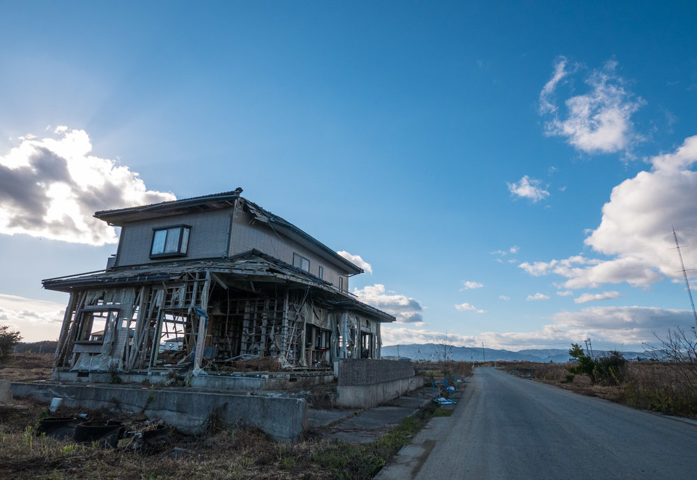 A house in an area that was devastated by the tsunami, all of the buildings in this area looked pretty modern.